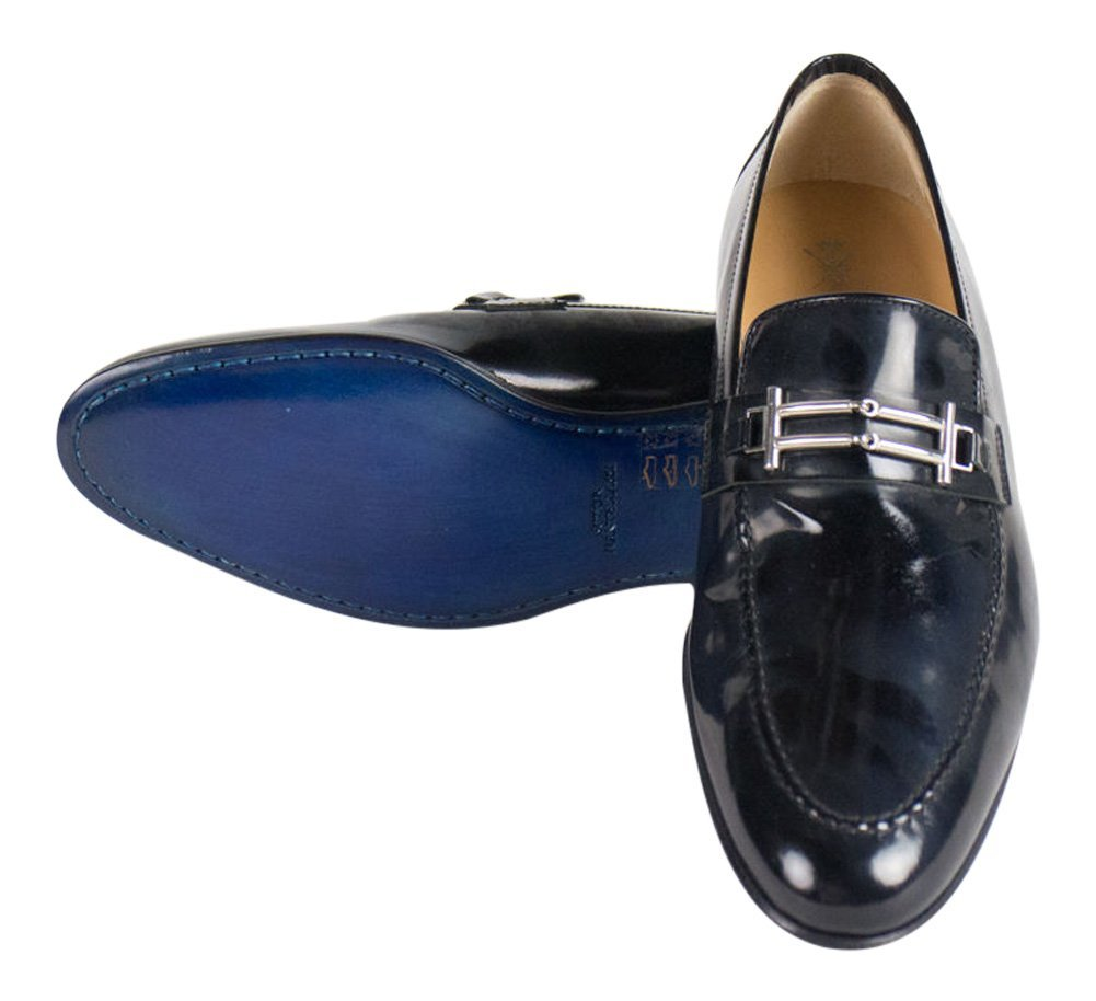 762b641164e51 Buy Sutor Mantellassi Navy Blue Patent Leather Loafers Shoes Size 7 ...
