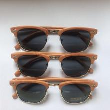 factory custom unisex Cheap Half Frame Sunglasses with wood grain