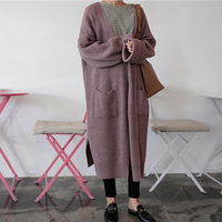 Winter Fashion Women Long Sleeve Loose Cardigan Pull Femme Long Knitted Sweater Cardigan
