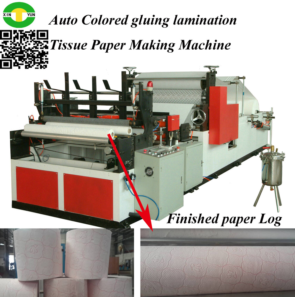 Automatic Toilet Paper Roll Rewinding Gluing Laminating Machine