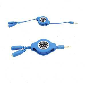 male-2female clear colorful retractable audio cable AUX cable for car music adapter MP3 MP4 CD iPhone