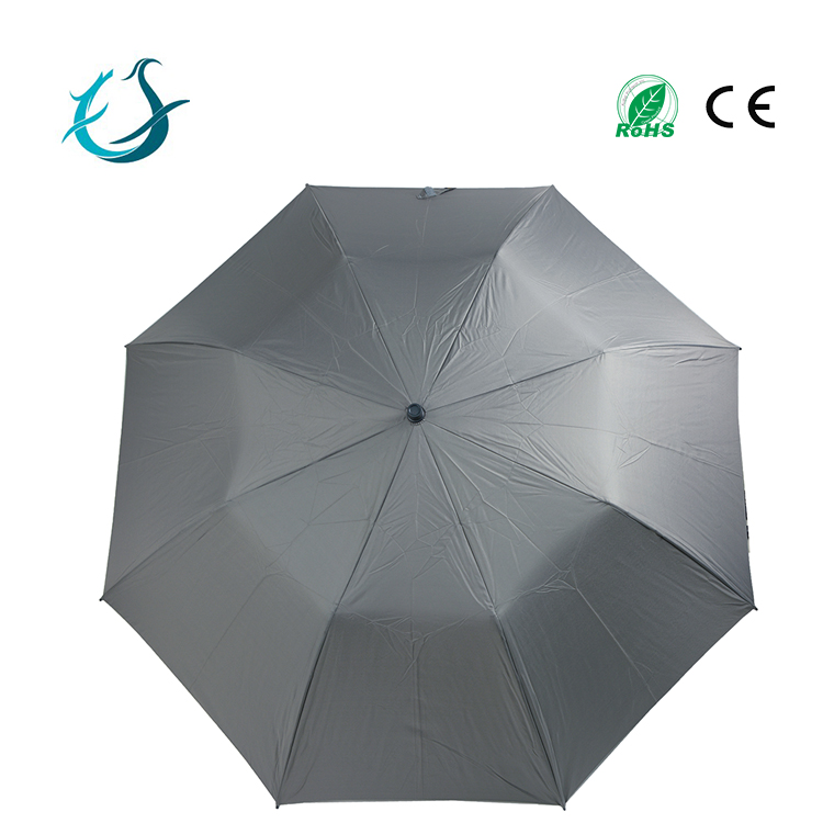 T190 pongee hand open 2 fold umbrella with wooden handle