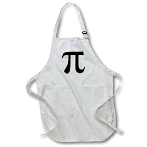 3dRose apr_164891_2 Pi Symbol Math Sign. Mathematical Black and White Mathematics Number-Medium Length Apron with Pouch Pockets, 22 by 24-Inch