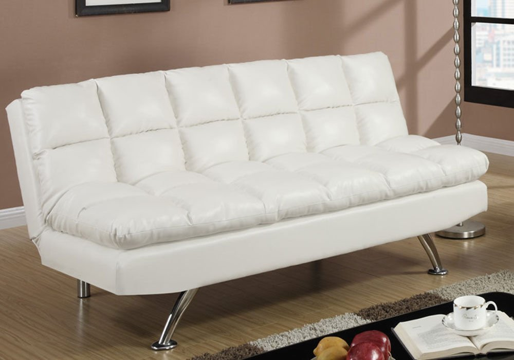 1PerfectChoice Modern Living Adjustable Sofa Futon Bed Sleeper Sleepover  Cream Faux Leather NEW