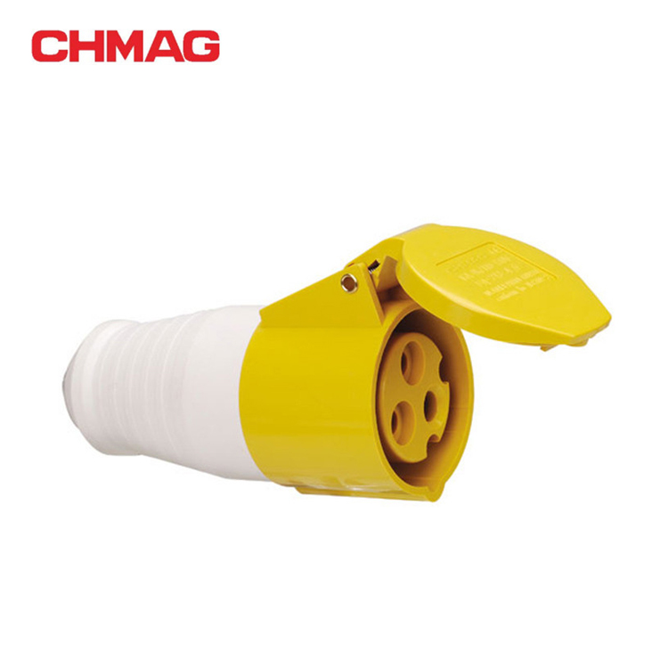 Industrial plug and socket connector Mobile socket 16A 32A 3P IP44 yellow 213-4