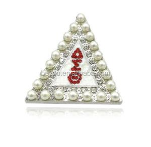 Fashion Crystals Pearls Greek Sorority Fraternity Organization Symbol Red Delta Sigma Theta Triangle