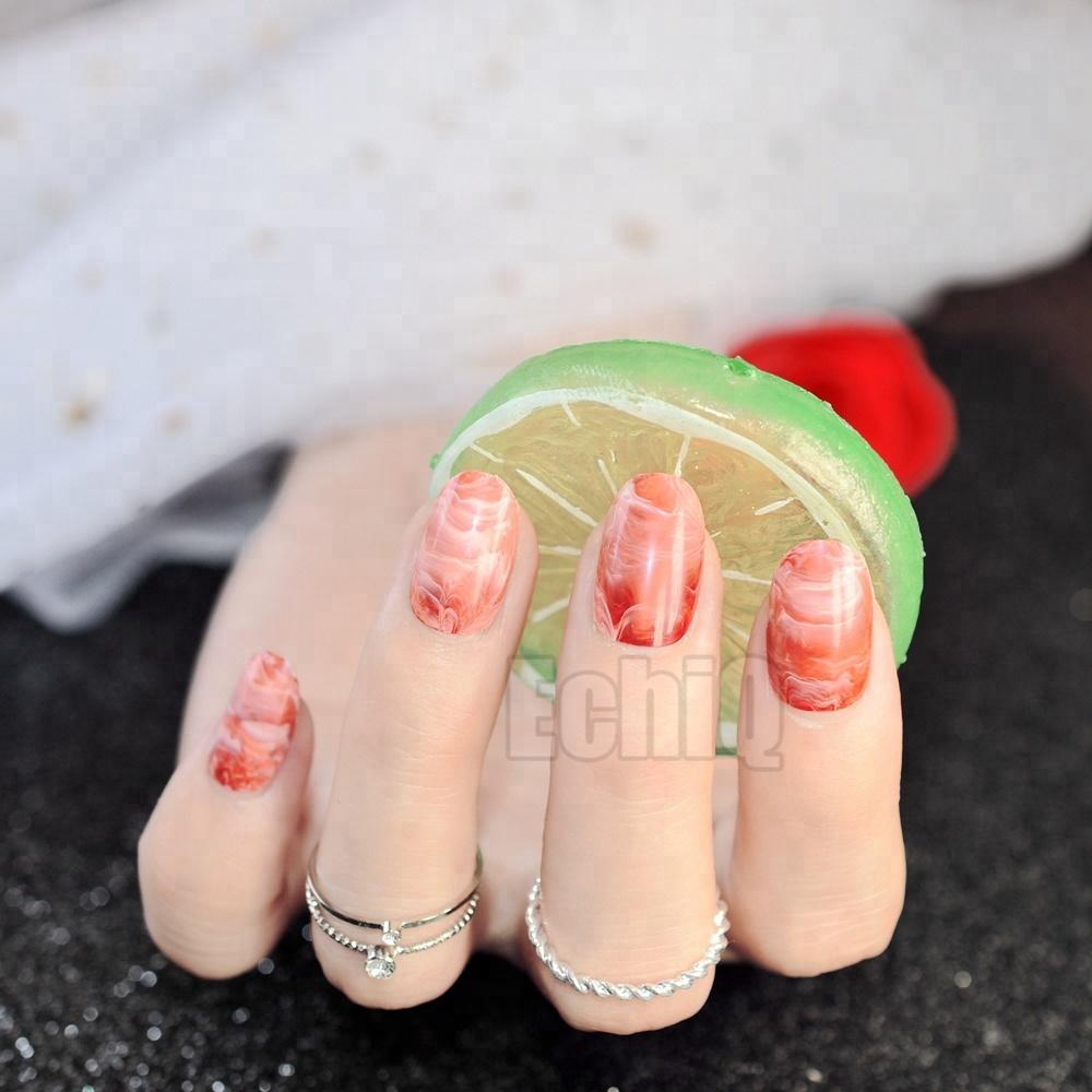gnade oval form acryl ngel rot gradienten marmor muster drcken sie auf ngel 24 stcke - Acrylngel Muster