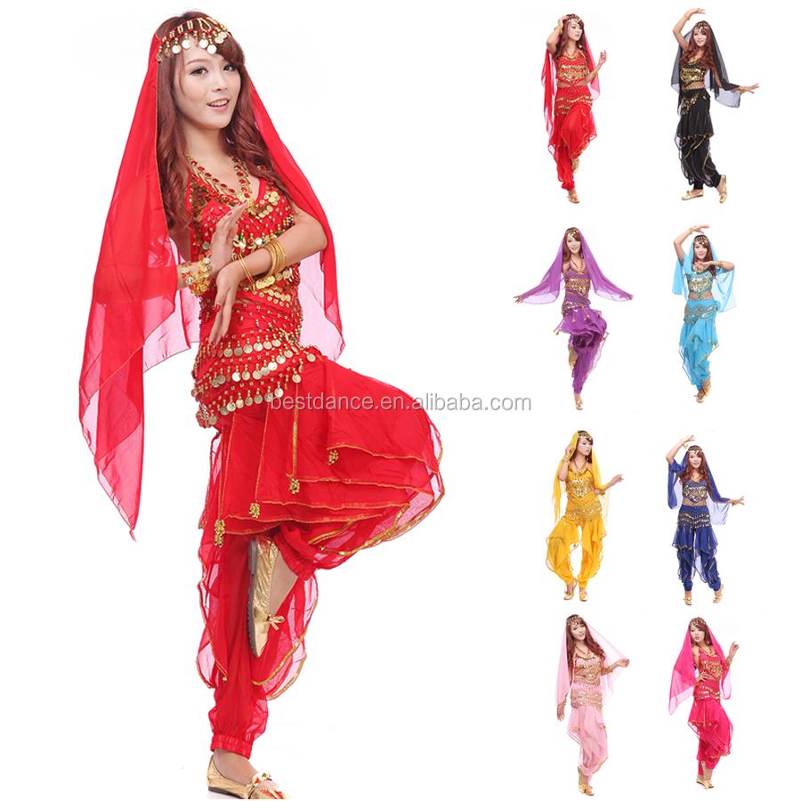 30d77bf0c Trajes de Dança Do Ventre Chiffon Banadge BestDance Top e Calças Harém Onda  Índia Dança Outfit
