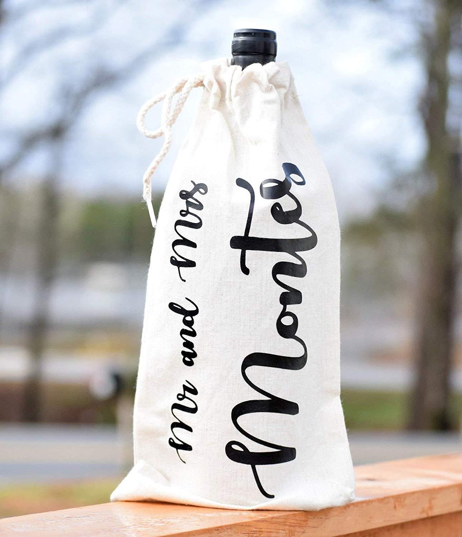Engagement Gift Wine Bag - Wedding Shower Wine Bag - Congrats Wine Bag - Bride Wine Bag - Canvas Wine Bag - Custom Wine Bag - Bride Gift