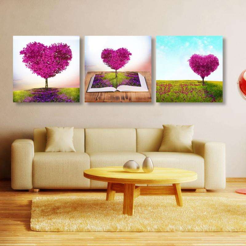 3 Pcs (No Frame) loving heart Flowers Wall Art Picture Modern Home Decor Living Room or Bedroom Canvas Print Painting SZ-O-024
