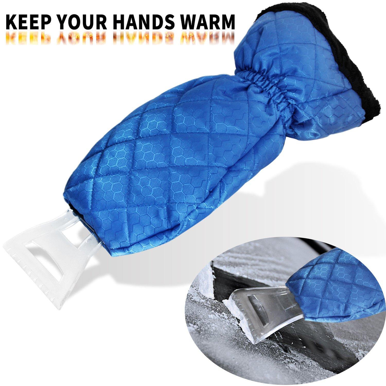 Dolloly Ice Scraper Mitt for Car Windshield Ice Scrapers with Waterproof Glove Thick Fleece Windshield Snow Scraper Mitt