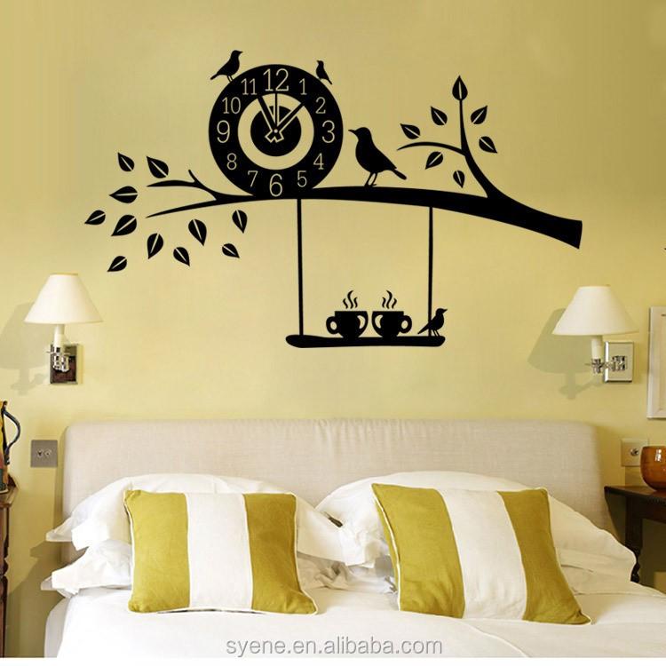 3d Art Custom Vinyl Wall Sticker Clock Flying Birds Tree Branch Wall ...