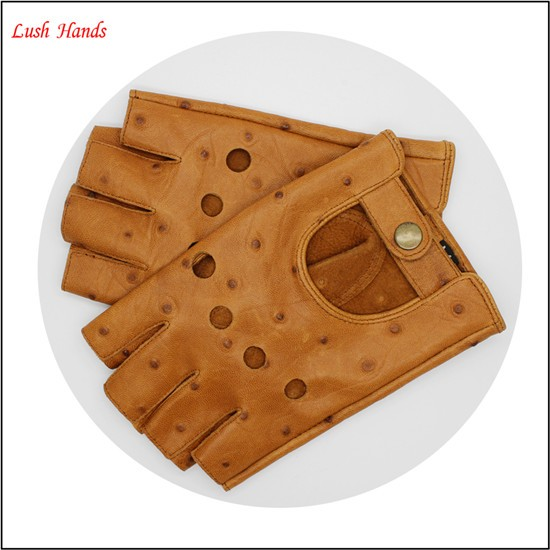 men 's leather driving gloves with Button