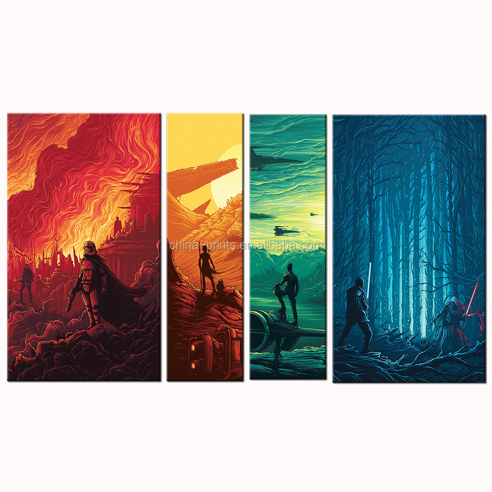 4 Panels/Brutal War Canvas Print/Fight in the Forest Canvas Painting/Destructive Battle Canvas Drawing