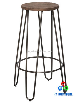 Vintage Metal Frame Steel Legs Round Wood Top Bistro Style High Bar Stool