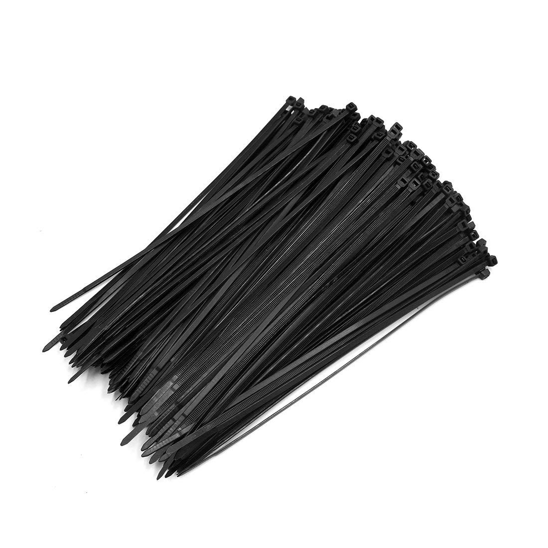 uxcell 500pcs Black 5mm x 250mm Nylon Fasten Self Locking Cable Wire Tie for Car Vehicle