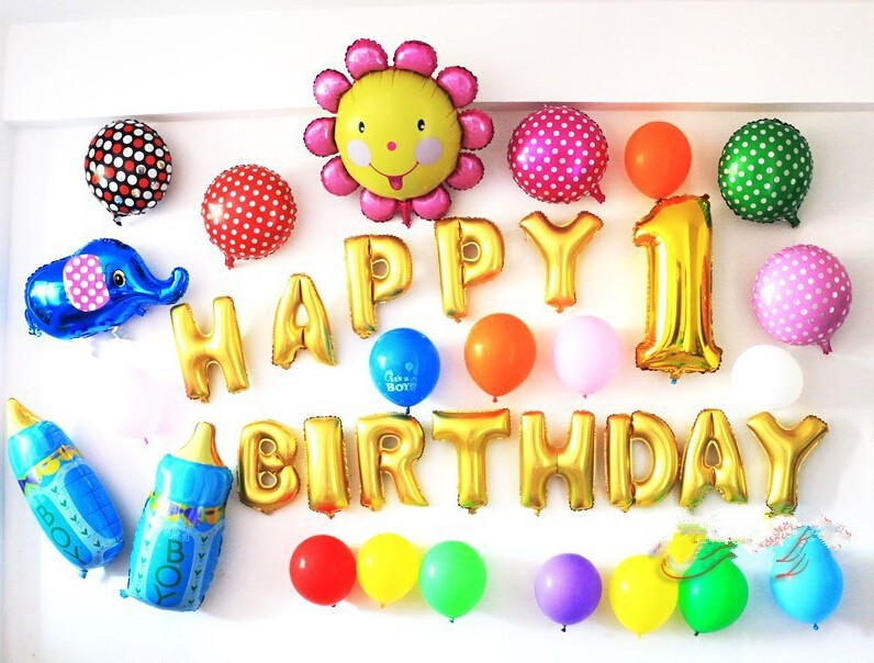 Decorative magnetic letters balloons foil helium balloon for 1 birthday decoration images