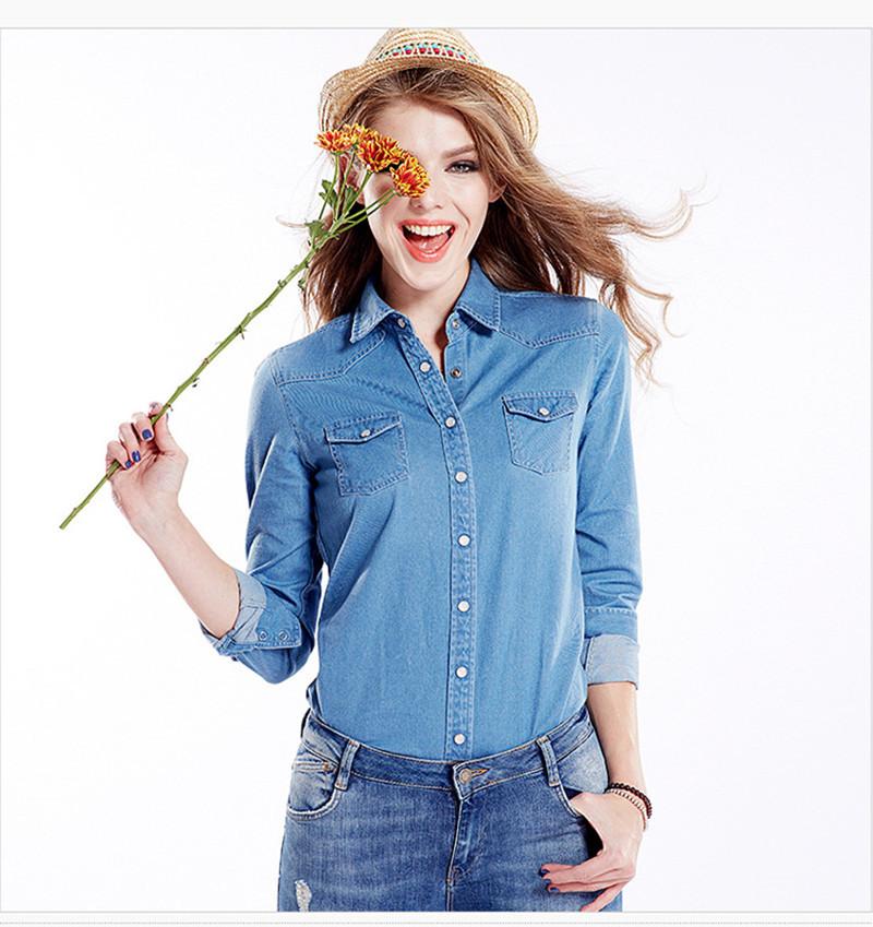 322cc44e3914 Get Quotations · Fashion Ladies elegant floral blue Denim shirts blouses  For Women long sleeve casual slim camisa jeans