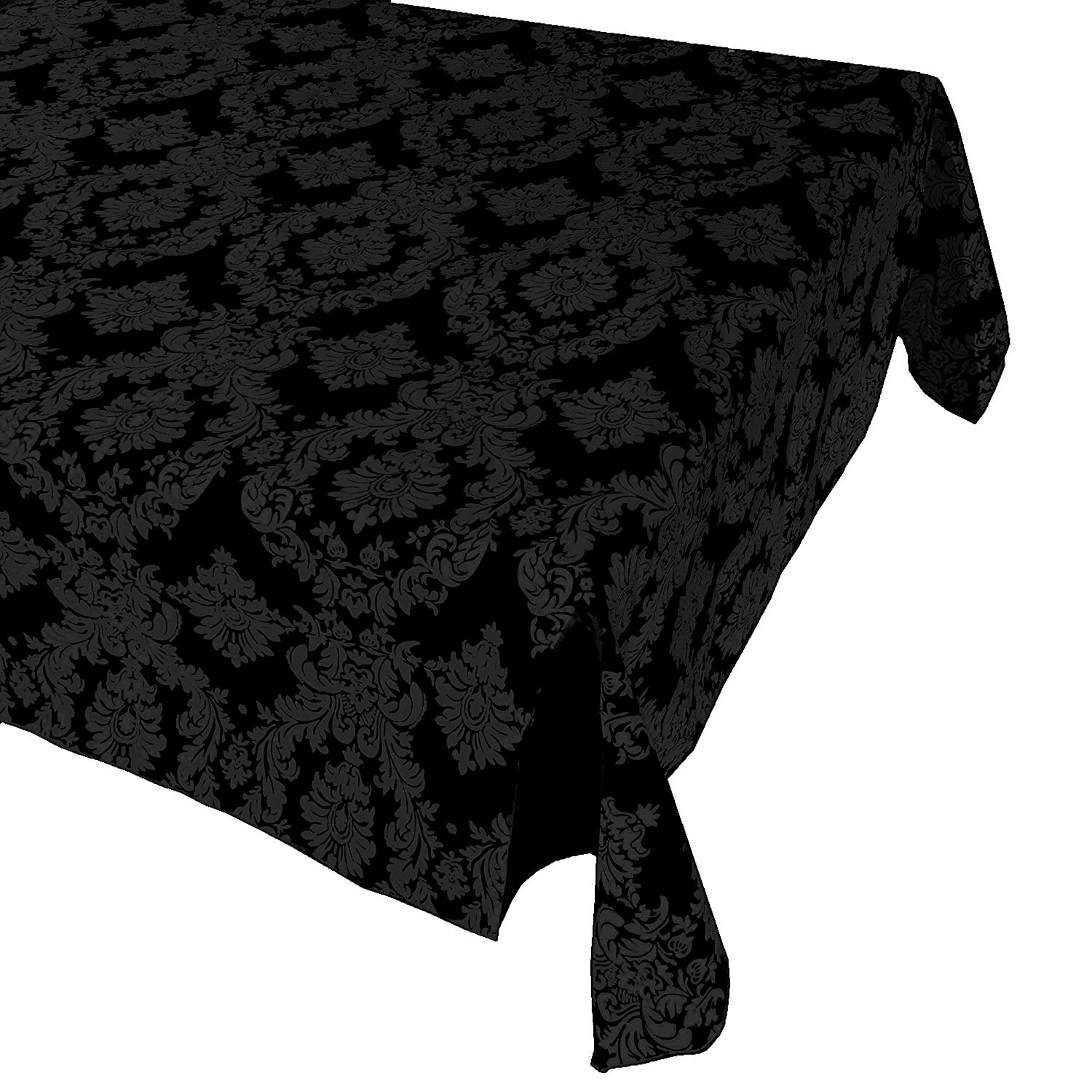 """Black Taffeta Damask Tablecloth / Fancy Pattern Tablecloth Decor / Dining Room and Event Decor (48"""" x 48"""")"""