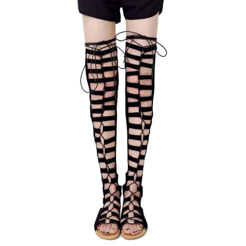 144e0e95e68 Get Quotations · Seacat Women s Suede Lace up Over The Knee Thigh High  Gladiator Flat Sandals Boot