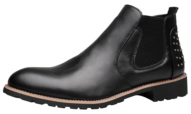 9ec3ec265 Get Quotations · Santimon Chelsea Boots Mens Leather Chukka Ankle Boots  Casual Studded Slip-on Duke Dress Formal