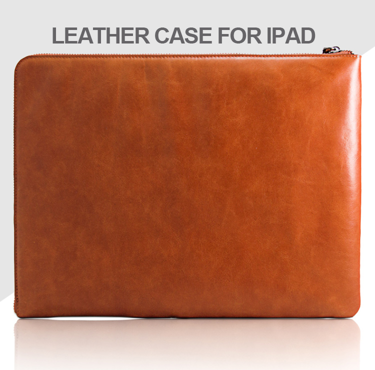 Travelling portable leather zipper pouch protective case tablet tablet case waterproof tablet leather case for iPad bag