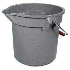 """RUBBERMAID 14-Quart Round Utility Bucket, 12"""" Diameter x 11-1/4""""h, Gray Plastic (Case of 8)"""