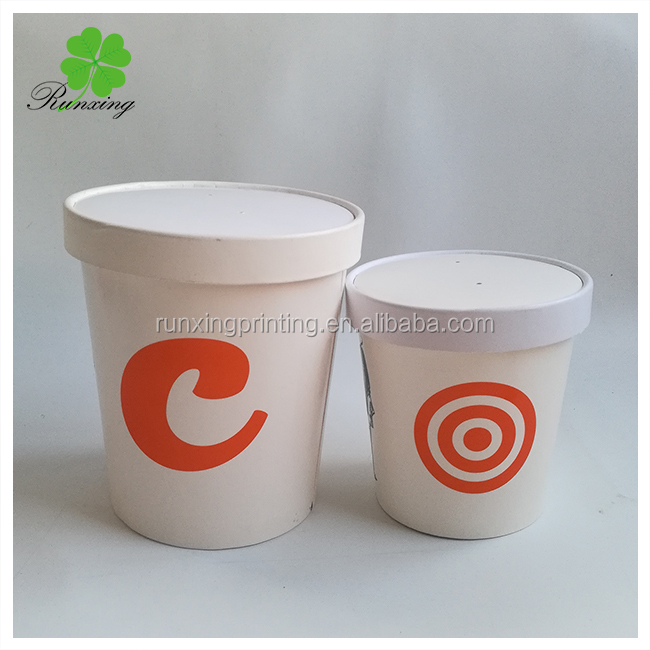 Restaurant Name Printed Kraft Paper Soup Cup Cups With Lids