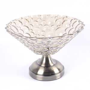 mediterranean style 2 tiers crystal glass flat shape fruit tray with metal holder for event and wedding