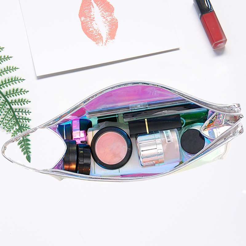 Holographic Clear Cosmetic Bag PVC Travel Laser Bag Iridescent Makeup Bag for Accessories Collection