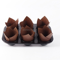 Disposable Muffin Supplies Cake Wrapper Brown Cupcake Custom Greaseproof Paper Tulip Baking Cup