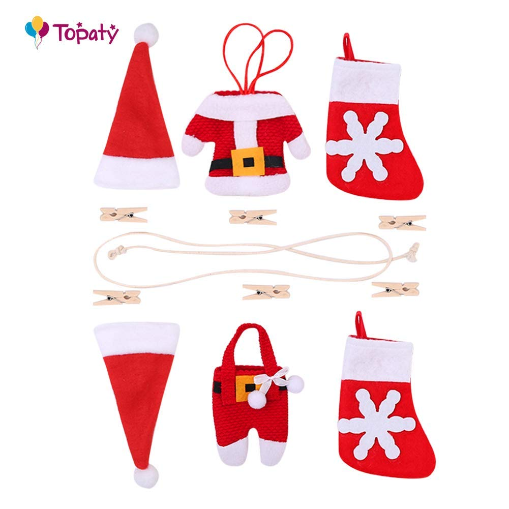 Home Decoration Christmas Set Fireplace 6Pcs/Set Small Hat/Clothes Christmas Decorations Pants/Socks Pattern Design Pull Flag Christmas Fireplace DIY Flag for Home 1m (Random)