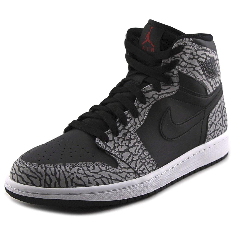 7af4f0dd3e6edb Get Quotations · Jordan Air Jordan 1 Retro High Men Round Toe Leather Black  Basketball Shoe