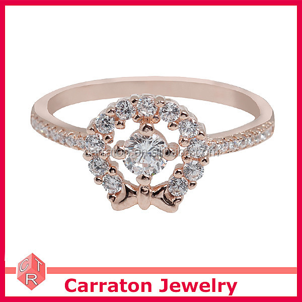925 Sterling Silver Rose Gold Plating Fashion CZ Flower Ring