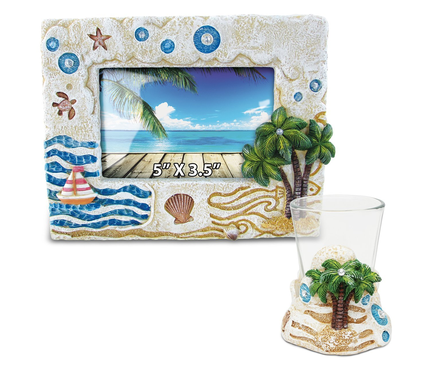 Puzzled Palm Tree Resin Stone Finish Collection including Picture/Photo Frame and Shot Glass - Picture Size 5 by 3 - Unique Elegant Gift and Souvenir