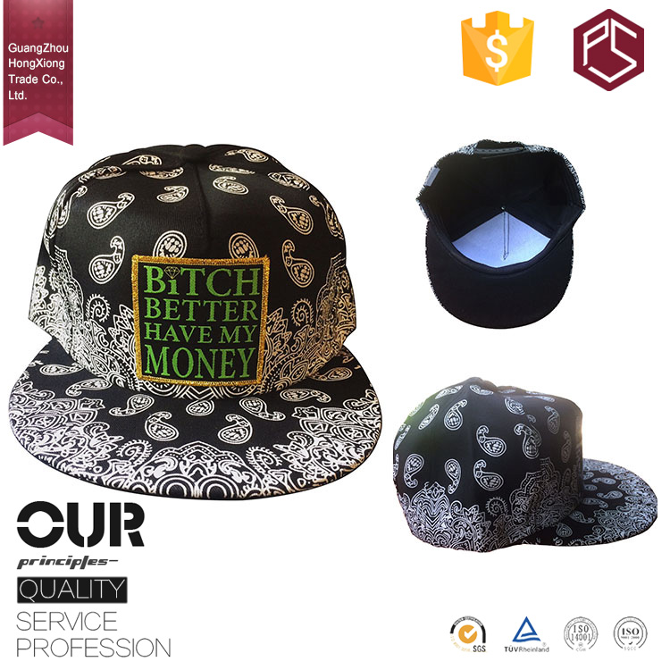 Promotional new products design your own printing bandana snapback hat