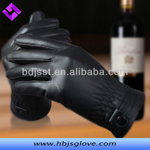 Men Black Pig Skin Tight Leather Gloves