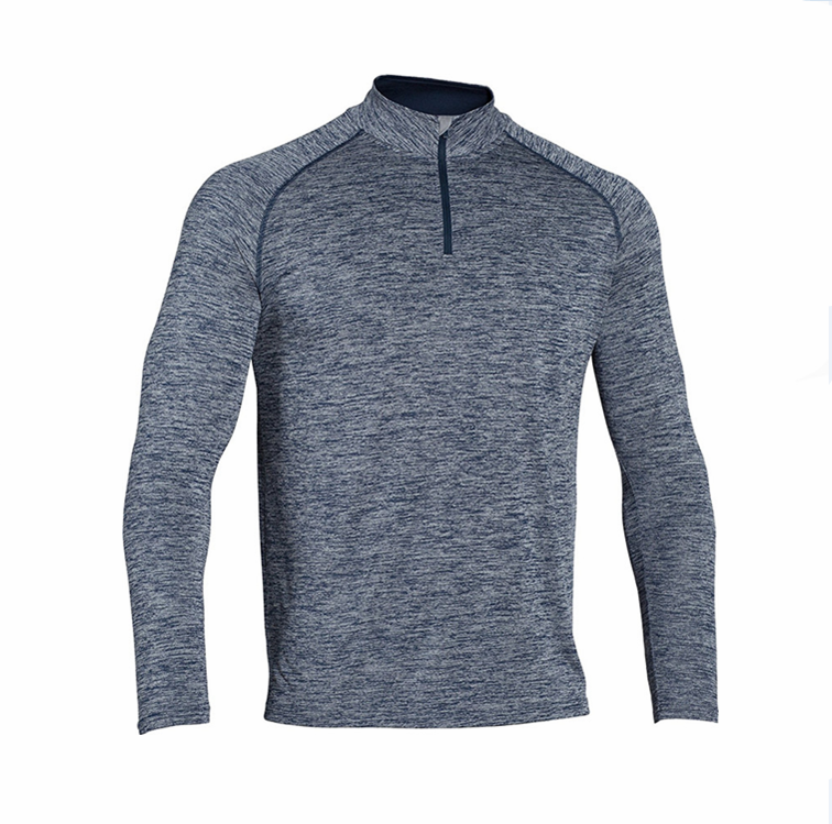 custom cloth 100% polyester wholesale blank t-shirts long sleeve t shirt turtleneck zipper collar polo tee no brand apparel OEM