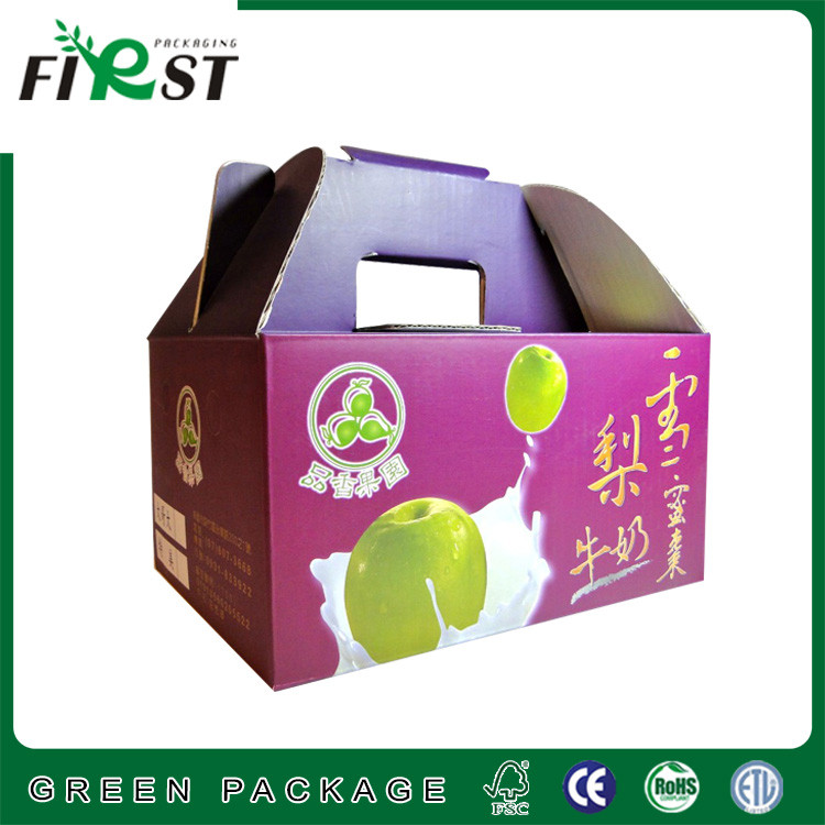 wholesale China Corrugated Paper Pear Fruit Box with die-cut handle