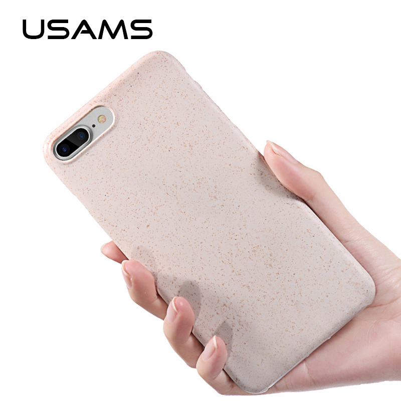 USAMS Recyclable material Wheat fiber Back Cover case Ultra Slim Full Protective phone case For <strong>iPhone</strong> 8 8 plus