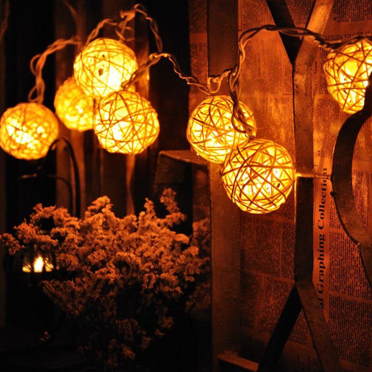 10 Light Led Vine Ball Christmas Light Chain Warm White Decorative ...