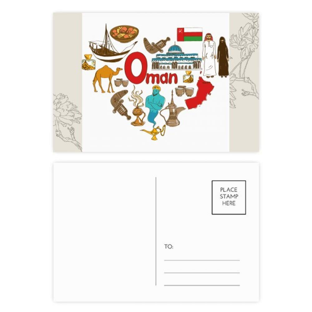 Get Quotations Oman Love Heart Landscap National Flag Flower Postcard Set Thanks Card Mailing Side 20pcs