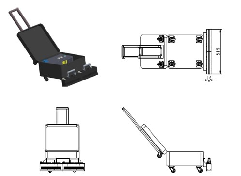 Mobile UV LED floor curing suitcase