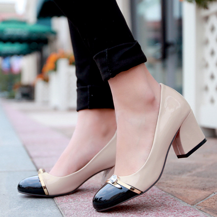 e0c3c275283 color block thick heel pumps shoes woman 2016 female spring summer patent  leather round toe low ...