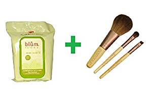 Blum Naturals, Daily Cleansing & Makeup Remover Towelettes, Combination & Oily Skin, Tea Tree, 30 Towelettes Plus EcoTools, Mini Essential Set, 3 Pieces