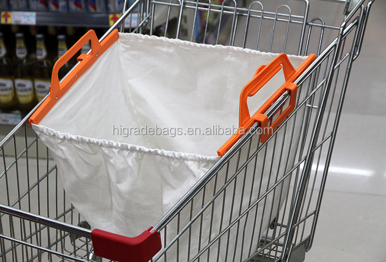 recyclable shopping cotton bag with plastic handle