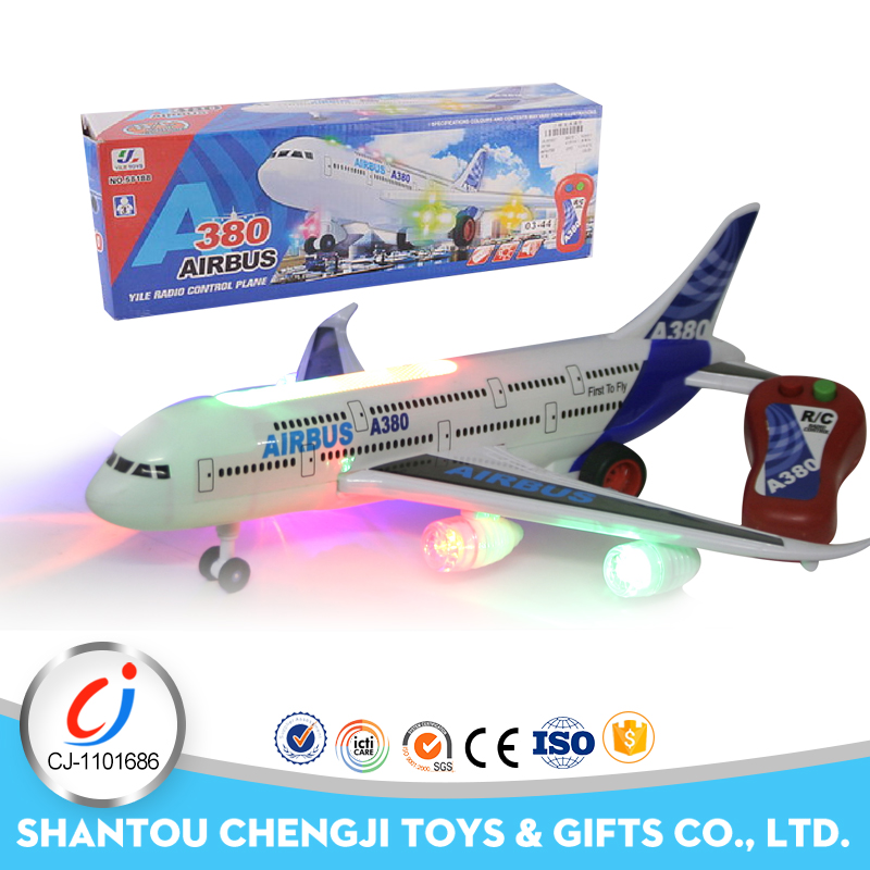 New simulation rc plane toy a380 scale model with sound and music