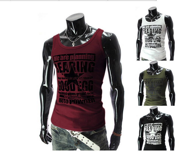 785805724a New 2015 Fashion Letters Printed Men Tank Tops Summer Brand O-neck Tank  Tops Men