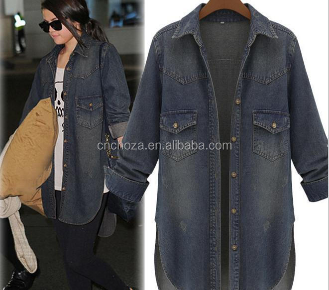 Z51368B Women Light Washed Denim Overcoats Long Trench Coats for wholesale
