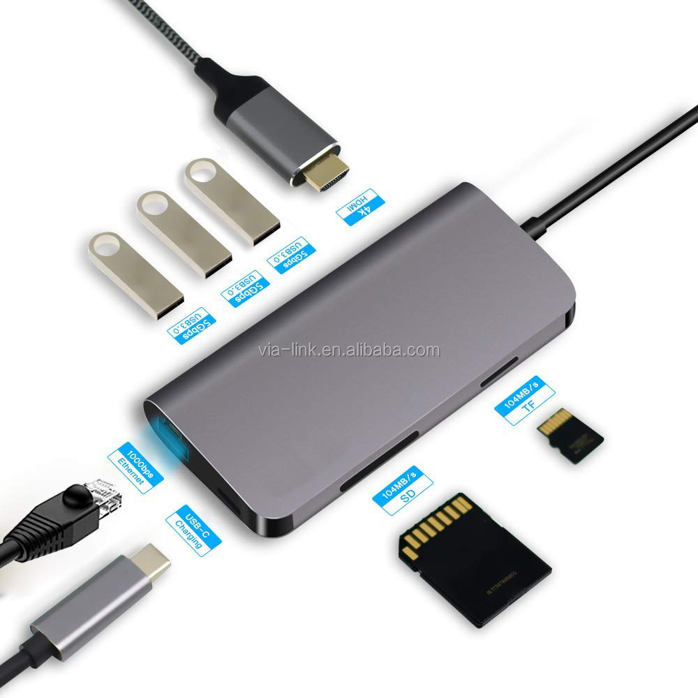 8 in 1 usb-c usb type-c hub type c to usb with UHD rj45 PD3.0 charging adapter manufacturer factory